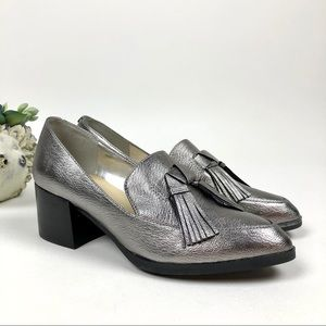 Marc Fisher Loafer Phylicia Block Heel Pewter 7.5M